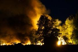 Konehallin palon  sammutustöitä vaikeuttivat hallissa räjähdelleet kaasupullot. Kuva: Simo Päivärinta