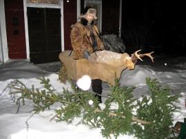 Nuuttipukki ja pois heitetty joulukuusi Uotilan tilalla Harjavallassa. Kuva: Simo Uotila