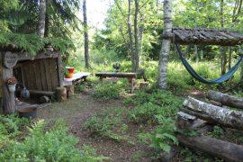 Metsässä on tilaa lasten luovalle leikille. Kesäkeittiö onkin ollut kovassa käytössä monena kesänä. Kuva: Maija Paloposki