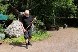 Eino Koskisen lempipuuhaa on etupihan haravointi, sillä työn tulos näkyy välittömästi. Kuva: Siiri Jumppanen