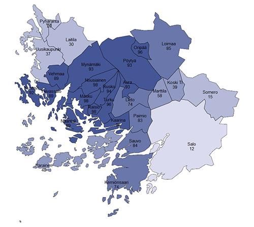 Yksityisen lääkäripalvelujen markkinoilla Varsinais-Suomessa oli kolme erillistä aluemarkkinaa, kertoo tuore selvitys. Turussa tuotettujen lääkärin vastaanottopalvelujen osuus kuntalaisten kulutuksesta eri Varsinais-Suomen kunnissa. Mitä suurempi luku, sitä isompi osuus kuntalaisista käyttää Turun lääkäripalveluja.