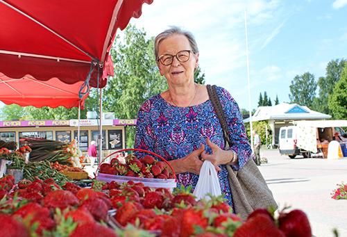 Loimaalainen Ulla Vähä-Jaakkola osti tiistaina Loimaan Kauppatorilta Kärkäisen puutarhan kojusta neljä litraa mansikoita 20 eurolla.   – Yleensä olen pitkittänyt mansikoiden ostoa, mutta nyt laitan mansikat ajoissa pakkaseen. Olen lukenut lehdistä, että nyt on paras mansikka-aika. Turha odottaa, että hinta tästä halpenisi, Vähä-Jaakkola mietti. / Kiti Salonen.