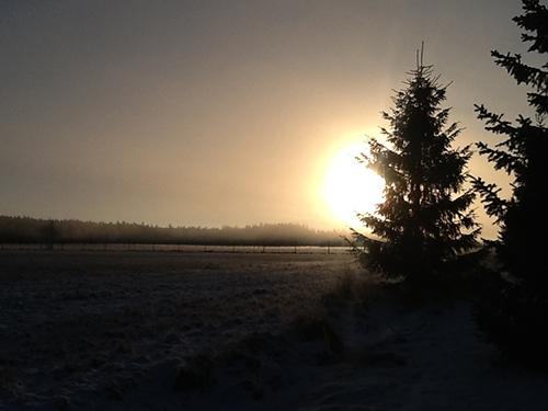 Taas aurinko nousee Loimaan Niinijoella. Mervi Julku-Tanski kuvasi helmikuussa.